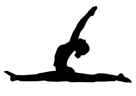 Yoga pose, woman to do the splits silhouette, vector outline portrait, gymnast figure, black and white contour outline drawing. Isolated on white