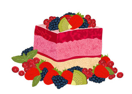 Cake with berry jelly, vector drawing, painted dessert. A piece of marmalade fruit cake decorated with many different berries, isolated on white