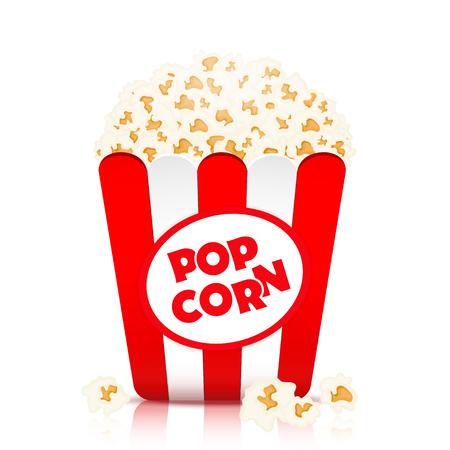 Popcorn vector, realistische illustratie. Vlokken popcorn in een papieren beker in rode en witte strepen, geïsoleerd op wit