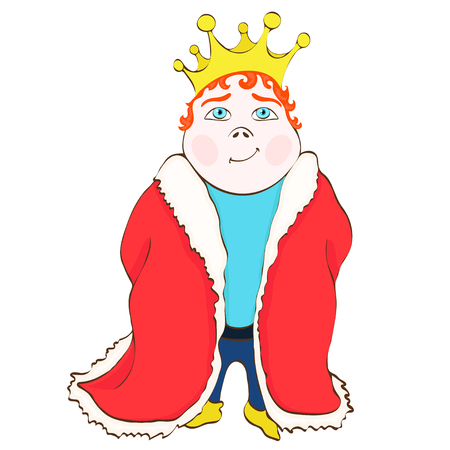 Cartoon king, vector hand drawing. Cute funny drawn prince in the red royal mantle, with red hair, with a crown on his head, isolated on white