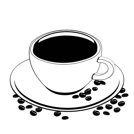 Cup of coffee, vector outline drawing, contour picture, coloring, sketch, silhouette. A cup of black coffee on a saucer on which coffee beans are scattered, isolated on white