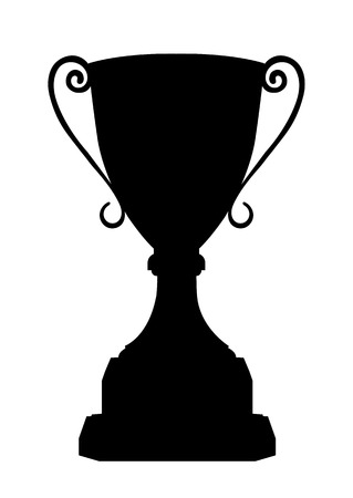 Cup winner vector icon, sign, emblem, award nominal goblet, silhouette isolated on white background