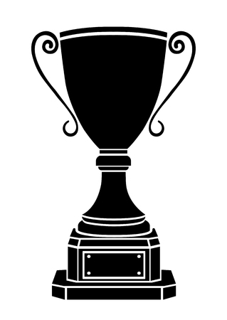 Cup winner vector icon, logo, sign, emblem, award nominal goblet, silhouette isolated on white