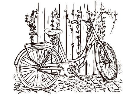 Bicycle hand drawing, sketch, coloring, monochrome black and white picture, vector Stock Illustratie