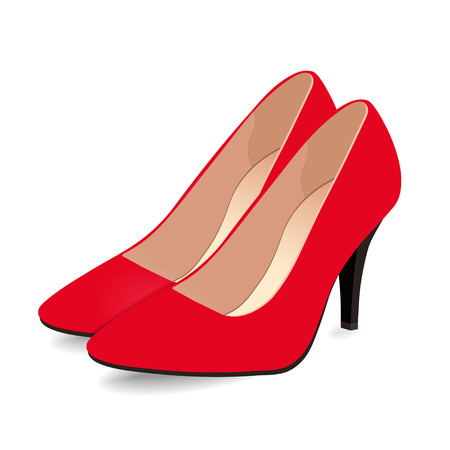 Pair of red shoes on high heels, isolated on white background. Vector