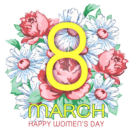 8 March, happy women's day greeting card, holiday vector floral banner. Yellow 8 on a hand drawn floral ornament from flower of rose and chamomiles, bud, petal and leaves, isolated on white