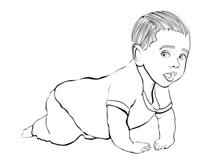 Crawling baby vector outline hand drawing, coloring, sketch. Black and white cartoon small child crawls on the knees, drawn portrait kid full-length in pant and shirt isolated on white background