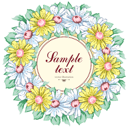 Wreath of chamomile flowers, vector floral background, round flower frame, border.