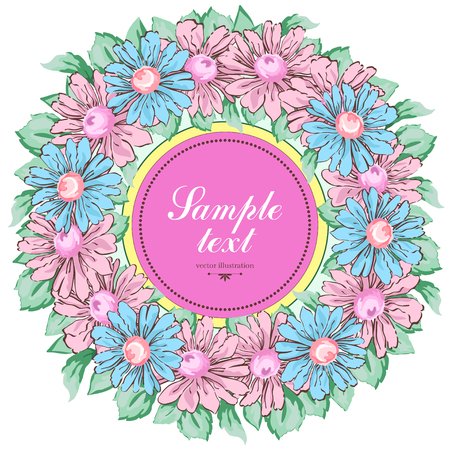 Wreath of chamomile flowers, vector floral background, round flower frame, border. Drawn buds pink and blue chamomile flowers and leaves hand drawing with a label for text, isolated on white backdrop Ilustração