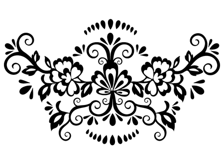 Abstract floral pattern, vector wicker ornament. Black ornate tracery in eastern style with a lot of curls and many details, arabesque, print for fabric, oriental design, isolated on white background Vettoriali