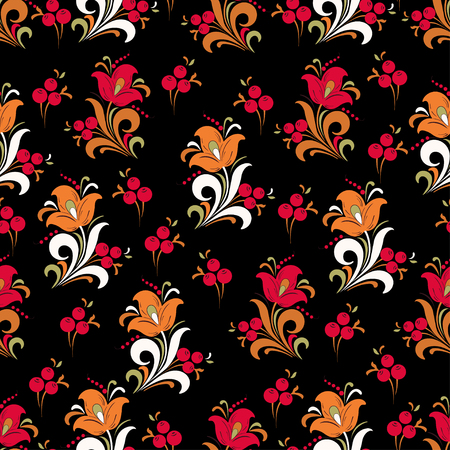 Abstract stylized flower seamless pattern, vector background. Red, orange, green and white decorative flower, berries and curls on a black backdrop. For fabric design, wallpapers, textiles