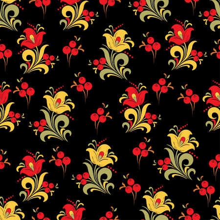 Abstract stylized flower seamless pattern, vector background. Red, yellow, green and orange decorative flower, berries and curls on a black backdrop. For fabric design, wallpapers, wrapper, textiles