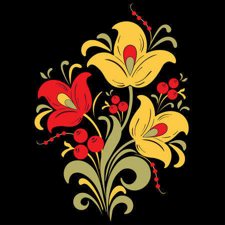 Abstract stylized flower, vector illustration, bouquet drawing.