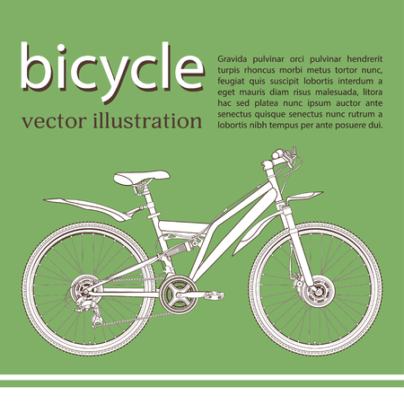 Bicycle cartoon contour drawing, banner, card, cover, coloring, sketch. White with black outline picture bike half-face with many multiple details and text on green background, vector illustration