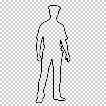 Outline figure police man standing front side, contour portrait male cop full-length on transparent background.