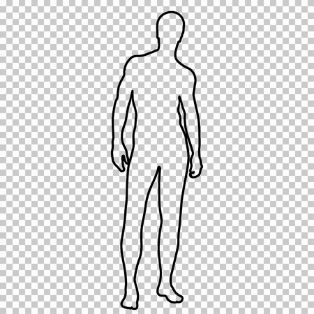Outline figure naked man full-length with a beautiful sports figure, contour portrait male muscular athlete on transparent background, vector silhouette human, black and white line drawing, stencil Vettoriali