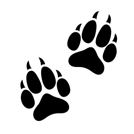 Odcisk łapy psa lub kota z pazurami, ślady sylwetki zwierzęcia, płaska ikona, czarne ślady. Pojedynczo na białym tle.