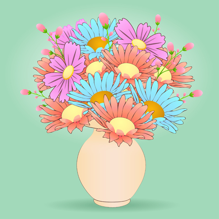 Bouquet Of Cartoon Flowers In The Vase Vector Hand Drawn Colorful