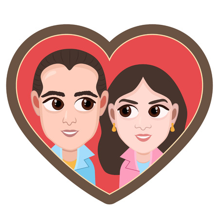 Cartoon character, vector drawing portrait lovers couple boy and girl, icon, sticker.