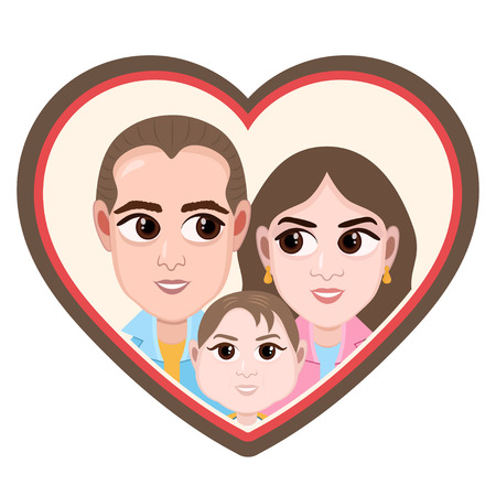 Cartoon character, vector drawing portrait happy family couples, icon, sticker. Loving husband, wife and child with big eyes smiling and cheerful in heart shaped frame.