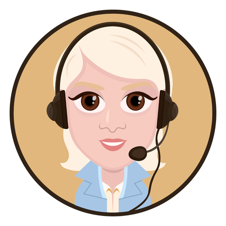 Cartoon character, vector drawing portrait girl call center operator, icon, sticker. Woman blonde with big eyes with a headset, headphones and microphone in round frame, isolated on white Çizim