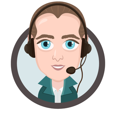Cartoon character, vector drawing portrait boy call center operator, icon, sticker.