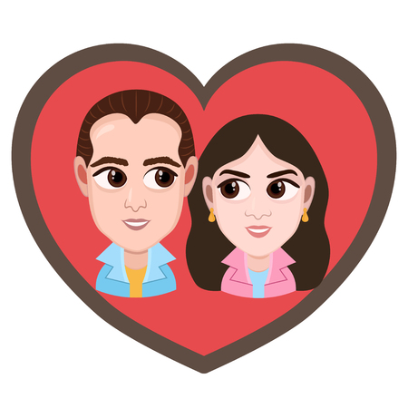 Cartoon character, vector drawing portrait lovers couple boy and girl, icon, sticker. Loving man and woman with big eyes looking at each other in heart shaped frame, isolated on white