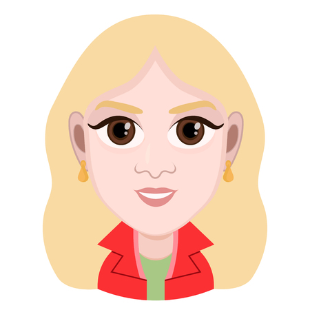 Cartoon character, vector drawing portrait girl, female smile facial emotion, woman avatar, icon, sticker. Cute girl blonde with big brown eyes in a red jacket cheerful, isolated on white