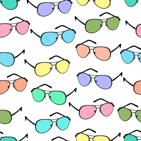 Colorful sunglasses seamless pattern, vector accessory background. Cartoon drawing multicolored bright spectacles on white background, vintage retro illustration. For fabric design, wallpapers, print