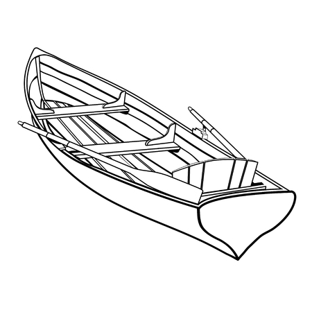Wooden boat with oars outline drawing, coloring sketch, monochrome graphic picture, black and white vector illustration. Skiff from a wooden board with two paddles and seats, isolated on white background