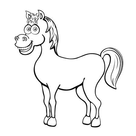 Horse cartoon outline drawing, coloring, sketch, silhouette, vector black and white line illustration. Funny cute painted animal isolated on white background, animated character, children print Stock Vector - 114993080