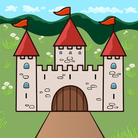 Castle cartoon drawing, vector illustration. Stone beige drawn palace with three towers with gates, red domes and flags against a background of green meadow and flowers, forest and blue sky