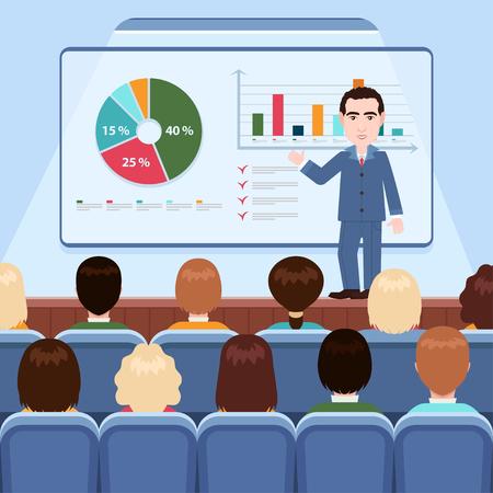 Uomo d'affari in giacca e cravatta che fa presentazione che spiega i grafici a bordo per il pubblico nella sala conferenze, seminario di lavoro, formazione, riunione, lezione. Illustrazione vettoriale, disegno piatto del fumetto Vettoriali