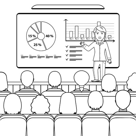 Business woman in costume making presentation explaining charts on board for audience in the conference hall, seminar, lecture. Vector outline linear illustration, coloring, black and white drawing