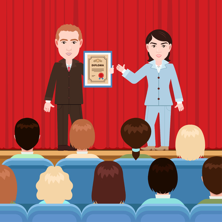 Awarding of a diploma, patent, vector illustration, flat cartoon drawing. Woman hands man a certificate in a frame on stage with a curtain in front of the audience in the auditorium, solemn rewarding Vector Illustration