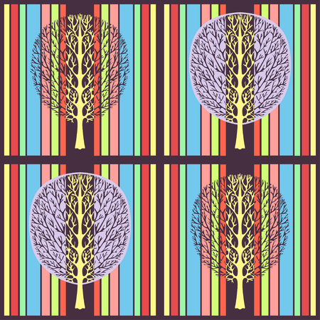 Abstract tree seamless pattern, vector illustration, stylized drawing. Ornate tree with branches and purple crown foliage against the background of multicolored bright strip rectangles in the square