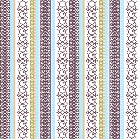 Abstract ethnic seamless pattern, vector illustration, vintage ornamental background. Ornate vertical multicolor colorful tracery for fabric design, textile, wallpaper and decoration, tribal art print
