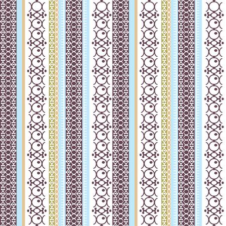 Modello senza cuciture etnico astratto, illustrazione vettoriale, sfondo ornamentale vintage. Trafori colorati multicolori verticali decorati per il design di tessuti, tessuti, carta da parati e decorazioni, stampa d'arte tribale