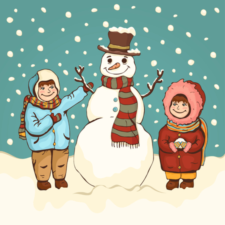 Children make snowman, winter fun, cartoon colorful drawing, vector illustration, card, poster, banner, holiday background. Painted cute boy and girl and funny snowman amid snow and falling snowflakes