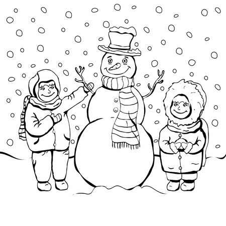 Children make snowman, coloring, cartoon linear outline drawing, vector black and white illustration, holiday background. Painted cute boy and girl and funny snowman amid snow and falling snowflakes Illustration