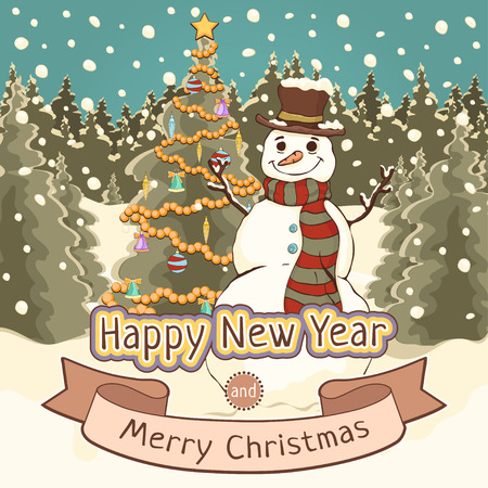 Merry Christmas and Happy New Year card, poster, banner, cartoon colorful drawing, vector illustration, holiday background. Cute snowman with decorated spruce tree against a winter forest with snow
