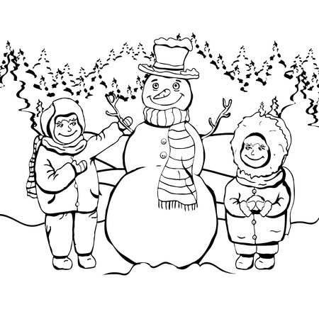 Children make snowman, coloring, cartoon linear outline drawing, vector black and white illustration, holiday background. Painted cute boy and girl and snowman amid forest, snow and falling snowflakes
