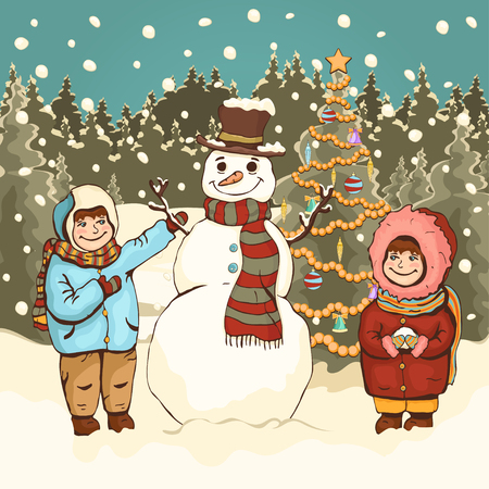 Children make snowman, cartoon colorful drawing, vector illustration. Painted cute boy and girl, funny snowman and New Years decorated Christmas fir-tree in the park with snow and falling snowflakes
