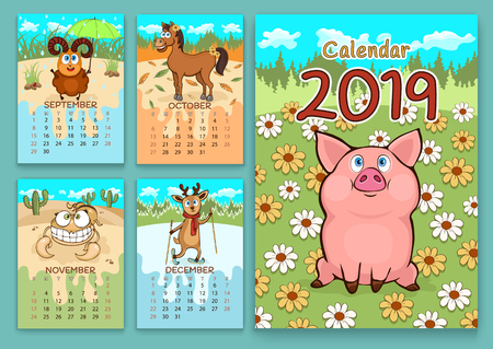 Calendar for 2019 with cartoon funny animals, hand drawing, vector illustration. Colorful, bright design of a wall-mounted rocker calendar with painted cute animals on the background seasonal nature  イラスト・ベクター素材