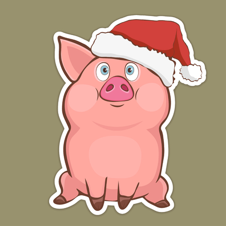 Cute funny pig in Santa hat sticker, sign, symbol, design element, colorful hand drawing, cartoon character, vector illustration, caricature, isolated with white stroke on a colored green background Иллюстрация