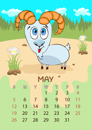 Calendar for 2019 with cartoon funny animals, hand drawing, vector illustration. Colorful, bright design of a wall-mounted rocker calendar with painted cute animals on the background seasonal nature Иллюстрация