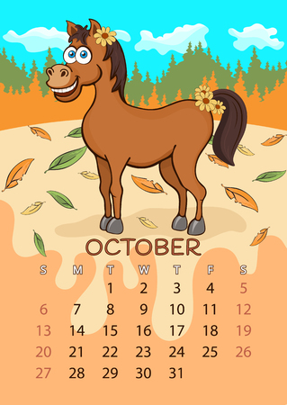 Calendar for 2019 with cartoon funny animals, hand drawing, vector illustration. Colorful, bright design of a wall-mounted rocker calendar with painted cute animals on the background seasonal nature Ilustracja