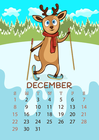 Calendar for 2019 with cartoon funny animals, hand drawing, vector illustration. Colorful, bright design of a wall-mounted rocker calendar with painted cute animals on the background seasonal nature Ilustração