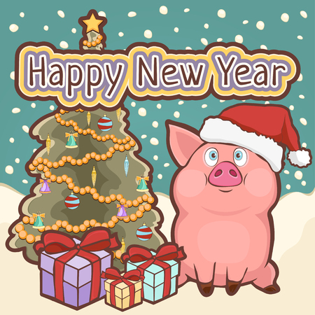 Happy New Year card, poster, banner with a cute funny pig, decorated Christmas tree and gift boxes amid falling snow, vector illustration in retro style, cartoon colorful hand drawing Ilustração