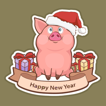 Happy New Year sticker, card with a cute funny pig in Santa hat, gift boxes and greeting tape with a white stroke isolated on green background, vector illustration, cartoon colorful hand drawing